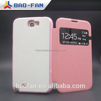 beautiful2D sublimation leather phone case with aluminum sheet for Samsung Note2 ,heat transfer 2D leather phone cover