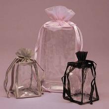 Pink drawstring organza top pvc bag from factory