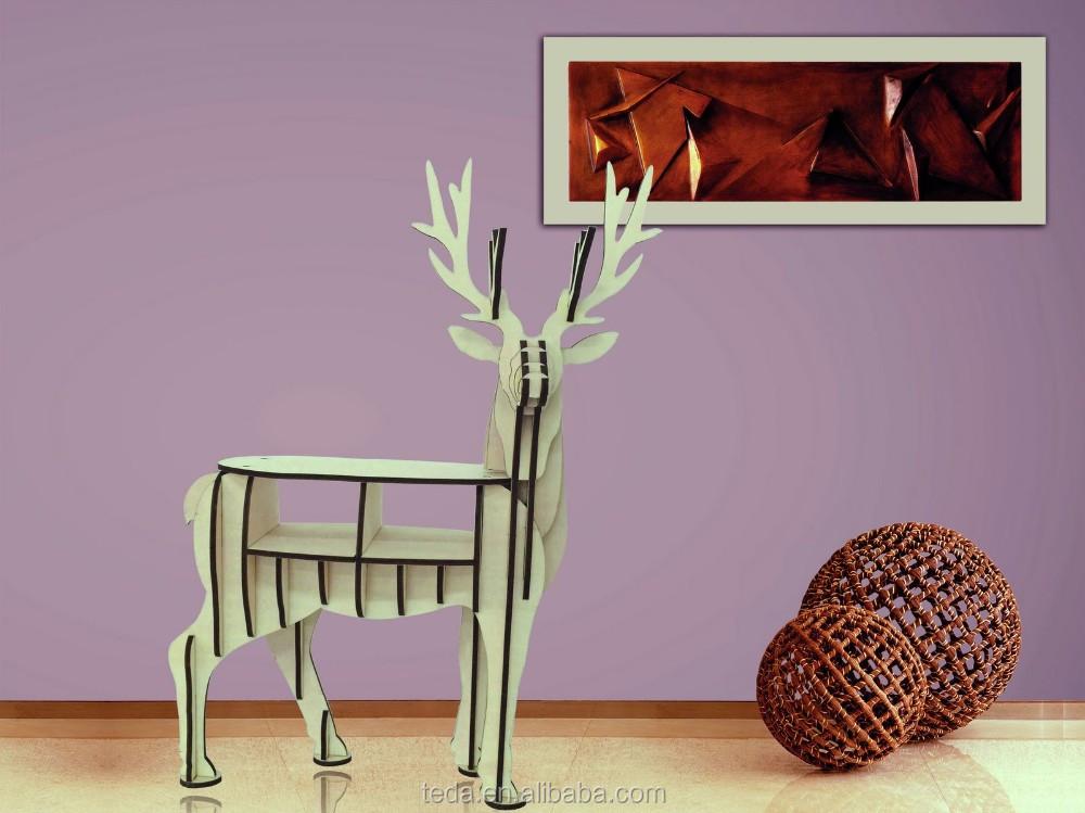 wholesale DIY wood carving craft decoration reindeer of Mini Wood ReinDeer Bookself (6)