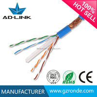 High speed 250MHz 1000ft/roll lan cable solid copper 23awg SFTP cat 6 network cable