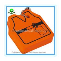 7.2x6.2x2cm customized PU vest floating keyring/promotional gift PU foam vest floating keyring/kids toys soft PU vest key ring