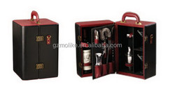 Good quality new products 2 bottle pu leather wine carrier