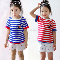 baby girl clothing short sleeve cotton girl's t-shirt manufacture Fashion striped short-sleeved T-shirt