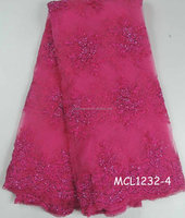 french with beads fuchsia color MCL1232-4 high quality tulle lace fabric for manufacturer