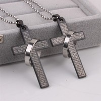 Circle Cross stainless steel Pendants Necklaces
