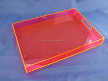 customized acrylic tray with handle position with insert