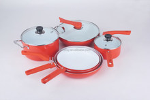 Professional 9pcs Orange Non-stick Cookware Set With Eco Ceramic Coating and Tempered Glass Lids For Home Cooking