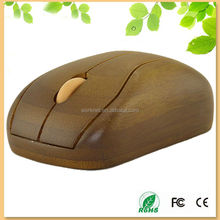 new customized gift wireless bamboo wooden mouse with brone color