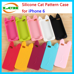 Cute Cat Pattern Silicone Mobile Phone Case for iPhone 6