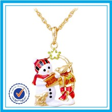 18K gold plated snowman sweater necklace pendant wholesale christmas ornament suppliers