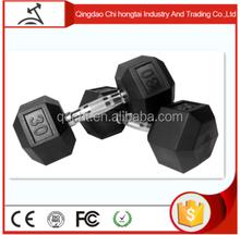 Wholesale High durability Rubber Hex dumbbells/commercial grade fitness rubber hex dumbbell/dumbbells