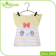 China manufacture good quality adorable party o neck kids clothing brands t shirt for lassock