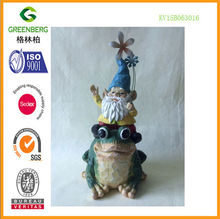 cheap polyresin santa decor ride the frog for home made in china
