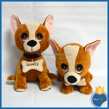 25cm dog shape plush toys with bones in his neck