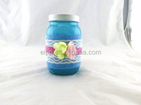 2015 Popular Storage Containers Colored Glass Mason Jars With Flower and Fabric