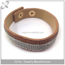 Brown Color Flat Link Chain Bracelet With Leather