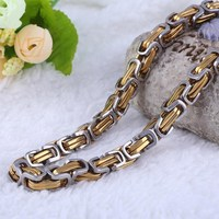 Wholesale 316l new stainless steel men gold chain necklace