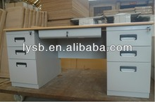 assembly metal-wood combination office long desk furniture office table with double sided lockable 6 drawers