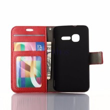 Luxury crazy horse case with card slot holder and photo frame for Alcatel POP C7