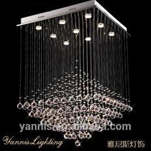 Lustre moderno K9 araña de cristal LED espiral crystal celling iluminación gota