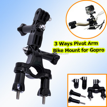 Factory 3 Ways Pivot Arm Bike Scooter Ski Poles Golf Stroller Mount for Hero4 3+ 3 Xiaomi Yi Action Camera SJ4000 SJ5000 SJ6000