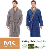 New Mens Coral Fleece Dressing Gowns Supersoft Bath Robe BLACK BLUE GREY