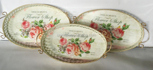 Romantic vintage design oval metal serving trays for wedding