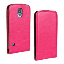 case for Galaxy S5 G900 up and down flip case crazy horse case Auto wake & sleep Stitch PU Leather cover made in china