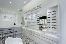 High End quality Optical retail Store with white baking paint and led illumination