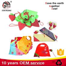 Custom logo folding fruit shape A4 size shopping tote bags with polyester nylon fabric