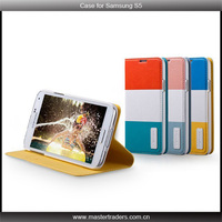 Momax 2014 new Contrast Color Leather Wallet Case For Samsung Galaxy S5 i9600 with stand MT-1754