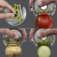 New Designed Wholesale 3 in 1 Manual Rotating Vegetable Julienne Peeler