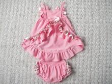 2015wholesalesimple design newborn romper baby clothes Ruffled Romper in Gray Chevron and Aqua, Sunsuit for Baby Girl