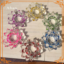 colored crystal lotus flower candle holder for islamic wedding gift