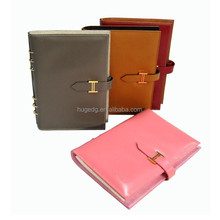 Clear leather spiral notebook with hasp