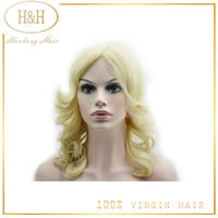 Full lace ash blonde wig brazilian hair weft blonde human hair wigs