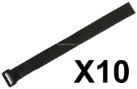 """LIHAO 10pcs 16"""" Black Reusable Fastening Velcro Cable / Wire / Cord Ties Straps With Plastic Buckle"""