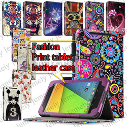 Printing PU Leather Media Stand Folio Cover Bag For Google Nexus 7 II 7 Inch Android Tablets Case + Stylus