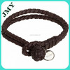 Newest design woven leather knot with stainless steel tag bracelet