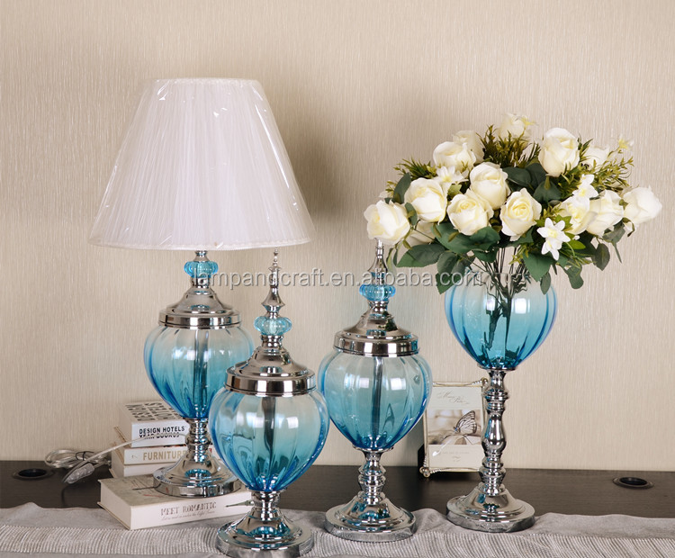 2016 Luxury Blue Glass Home Decoration Items Wholesale