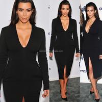 Long Sleeve Deed V-neck Sexy Bodycon Club Knee Length Evening Dress H1496
