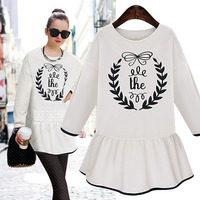 New fashion printed leisure shirt dress long sleeve falbala dress