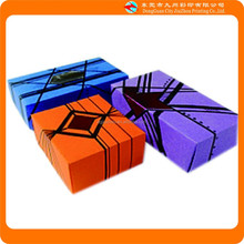 line art purple, orange, blue gift paper packaging box in China