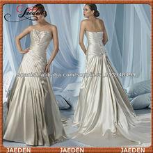 W009 novia de satén modificado alterna corpiño plisado vertical de una línea vestido de boda