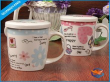 Promotional colorful ceramic coffee mug with heart shape printing