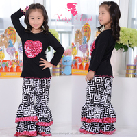 2015 baby girls long sleeve black top and greek key ruffle pants sets,giggle moon remake outfits