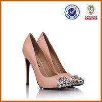 customer design pink genuine jeweled high heels for 2014 big size shoes