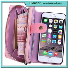 Dual Wristlet Carry Zipper Pouch for iphone 6 pu case flip wallet