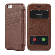 Factory price leather flip phone case for iphone 6 leather casing+card slot