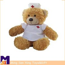 wholesale china cute handmade stuffed plush nurse bear toy